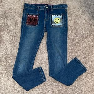 Girls 8 GAP skinny jeans flippy sequins pants kids